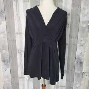 Sympli Size 8 Black V Neck Jersey Fabric Top